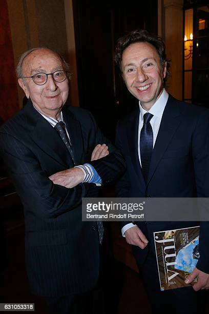 Founder Stephane Bern and his father Louis Bern attend Stephane Bern's Foundation for 'L'Histoire et le Patrimoine Institut de France' delivers its...