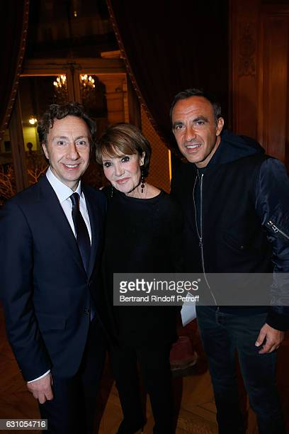 Founder Stephane Bern Yaguel Didier and Nikos Aliagas attend Stephane Bern's Foundation for 'L'Histoire et le Patrimoine Institut de France' delivers...