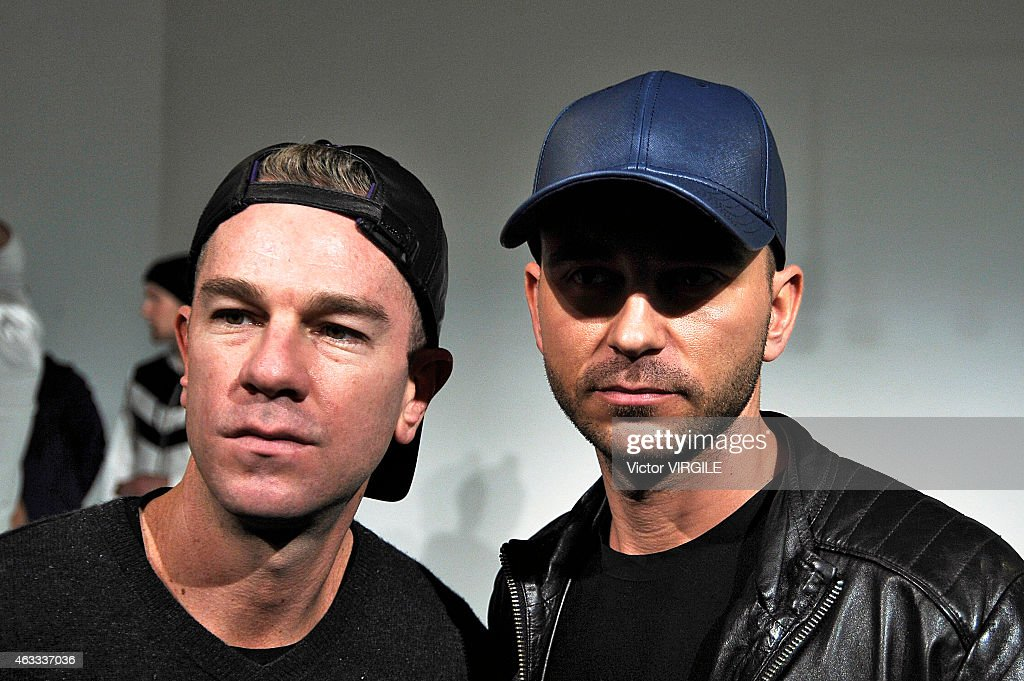 Founder/CEO Josh Reed and designer Trey Alligood poses during the Gents presentation at Industria Studios on February 11 2015 in New York City