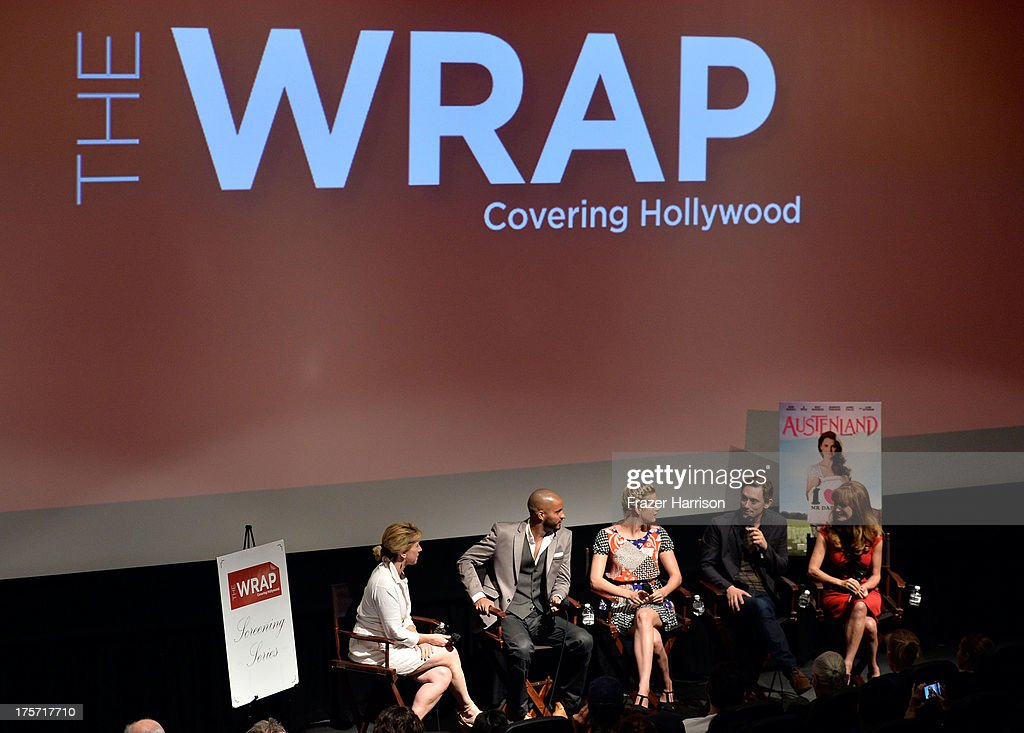 Founder/CEO of TheWrap Sharon Waxman, actors Ricky Whittle, Georgia King, J.J Field, Jane Seymour attend TheWrap's Indie Series Screening of 'Austenland' at the Landmark Theater on August 6, 2013 in Los Angeles, California.