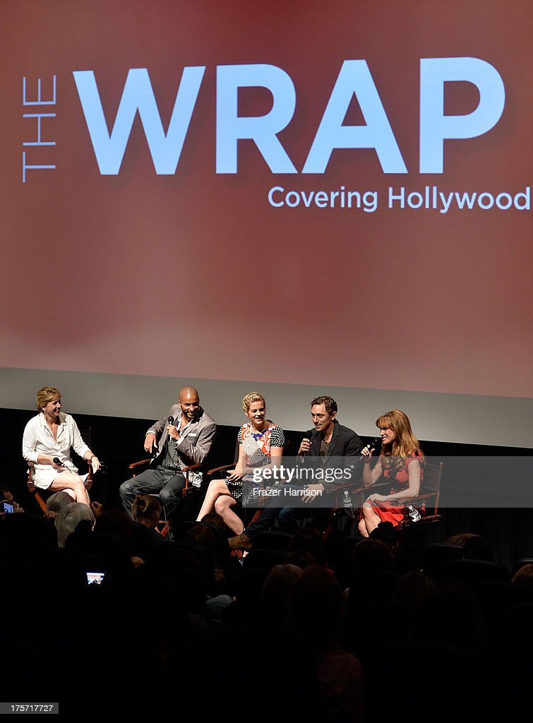 Founder/CEO of TheWrap <a gi-track='captionPersonalityLinkClicked' href=/galleries/search?phrase=Sharon+Waxman&family=editorial&specificpeople=233500 ng-click='$event.stopPropagation()'>Sharon Waxman</a>, actors <a gi-track='captionPersonalityLinkClicked' href=/galleries/search?phrase=Ricky+Whittle&family=editorial&specificpeople=3358286 ng-click='$event.stopPropagation()'>Ricky Whittle</a>, <a gi-track='captionPersonalityLinkClicked' href=/galleries/search?phrase=Georgia+King&family=editorial&specificpeople=5846970 ng-click='$event.stopPropagation()'>Georgia King</a>, J.J Field, Jane Seymour attend TheWrap's Indie Series Screening of 'Austenland' at the Landmark Theater on August 6, 2013 in Los Angeles, California.
