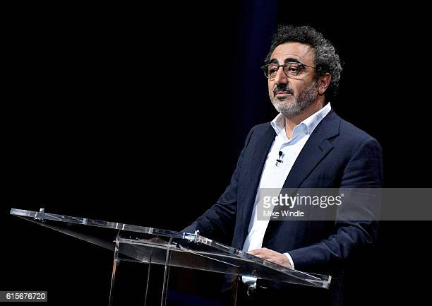Founder/chairman/CEO of Chobani Hamdi Ulukaya speaks onstage during 'Letter from Chobani A Culture of Sharing' at the Vanity Fair New Establishment...