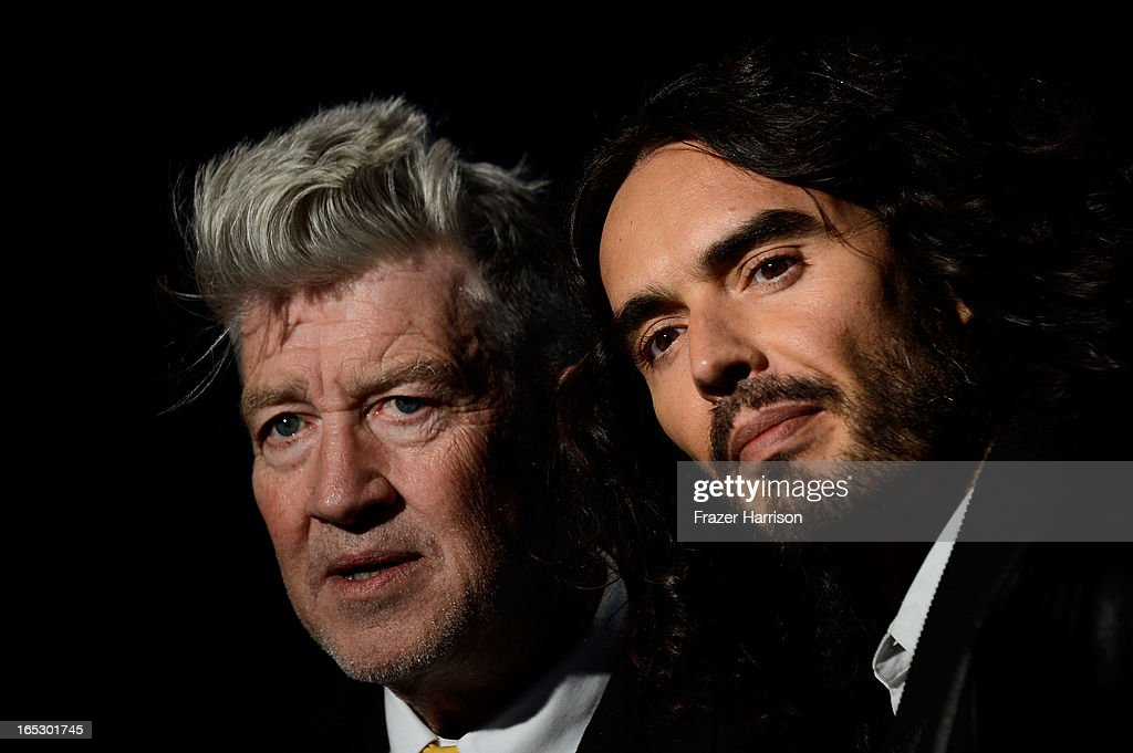 Founder/Director <a gi-track='captionPersonalityLinkClicked' href=/galleries/search?phrase=David+Lynch&family=editorial&specificpeople=224589 ng-click='$event.stopPropagation()'>David Lynch</a> and comedian <a gi-track='captionPersonalityLinkClicked' href=/galleries/search?phrase=Russell+Brand&family=editorial&specificpeople=536593 ng-click='$event.stopPropagation()'>Russell Brand</a> attend the 'Meditation In Education' Global Outreach Campaign at The Billy Wilder Theater at the Hammer Museum on April 2, 2013 in Los Angeles, California.