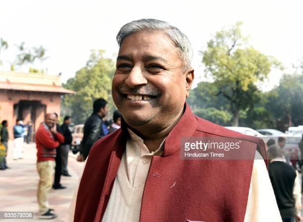 founderpresident of Bajrang Dal the youth wing of the Hindu nationalist organisation Vishwa Hindu Parishad and Rajya Sabha MP Vinay Katiyar arrive of...