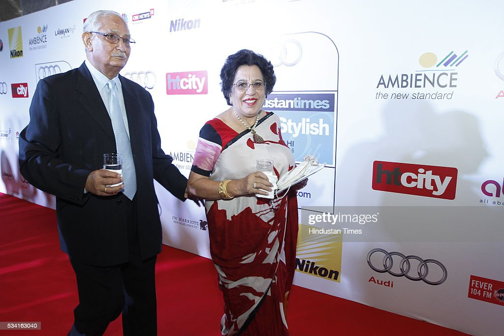 Founder-President of Tamana Association Shayama Chona with her husband arriving at red carpet for Hindustan Times Most Stylish Awards 2016 at hotel JW Marriot, Aerocity on May 24, 2016 in New Delhi, India.