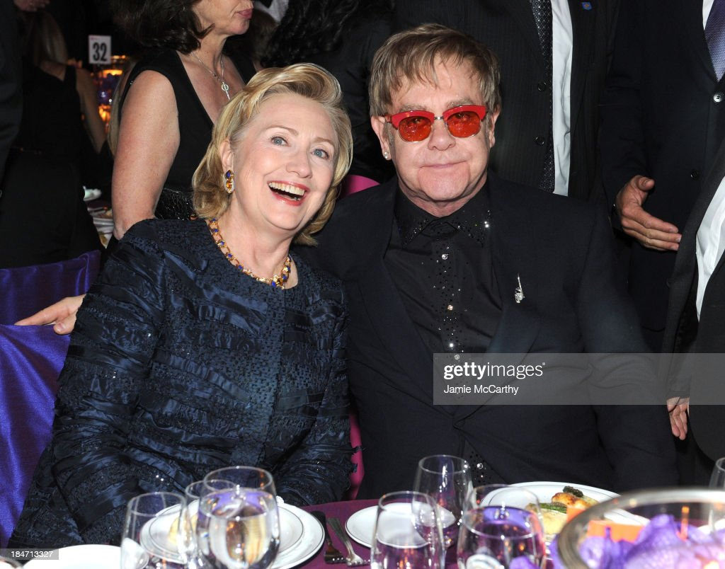 Founder's Award Honoree Hillary Rodham Clinton and Sir <a gi-track='captionPersonalityLinkClicked' href=/galleries/search?phrase=Elton+John&family=editorial&specificpeople=171369 ng-click='$event.stopPropagation()'>Elton John</a> attend the <a gi-track='captionPersonalityLinkClicked' href=/galleries/search?phrase=Elton+John&family=editorial&specificpeople=171369 ng-click='$event.stopPropagation()'>Elton John</a> AIDS Foundation's 12th Annual An Enduring Vision Benefit at Cipriani Wall Street on October 15, 2013 in New York City.