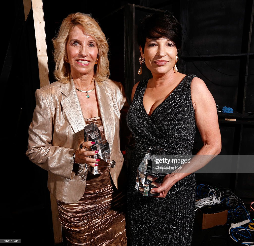 Founder's Award honorees Judith Parker Harris (L) and Bonnie Spence attend Women In Film 2014 Crystal + Lucy Awards presented by MaxMara, BMW, Perrier-Jouet and South Coast Plaza held at the Hyatt Regency Century Plaza on June 11, 2014 in Los Angeles, California.