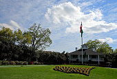Founders Circle is seen in front of the clubhouse during a practice round prior to the start of the 2014 Masters Tournament at Augusta National Golf...