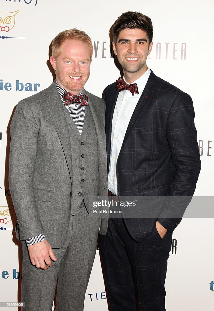 Founders <a gi-track='captionPersonalityLinkClicked' href=/galleries/search?phrase=Jesse+Tyler+Ferguson&family=editorial&specificpeople=633114 ng-click='$event.stopPropagation()'>Jesse Tyler Ferguson</a> (L) and <a gi-track='captionPersonalityLinkClicked' href=/galleries/search?phrase=Justin+Mikita&family=editorial&specificpeople=7458663 ng-click='$event.stopPropagation()'>Justin Mikita</a> arrive at 'Tie The Knot' Store Grand Opening with founder <a gi-track='captionPersonalityLinkClicked' href=/galleries/search?phrase=Jesse+Tyler+Ferguson&family=editorial&specificpeople=633114 ng-click='$event.stopPropagation()'>Jesse Tyler Ferguson</a> at The Beverly Center on December 5, 2013 in Los Angeles, California.