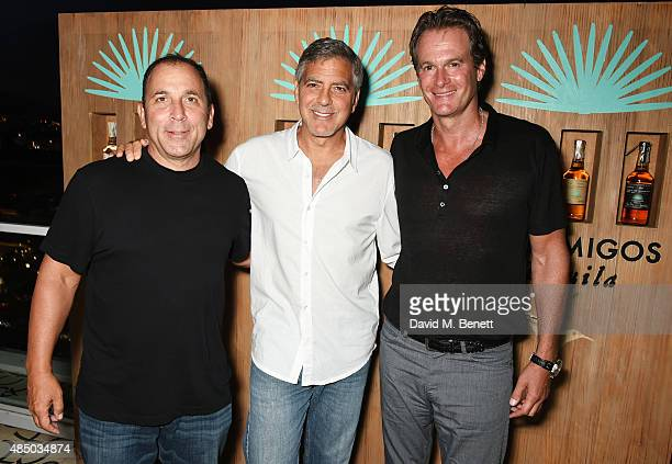 Founders of Casamigos Tequila Mike Meldman George Clooney and Rande Gerber attend the launch of Casamigos Tequila at Ushuaia Beach Hotel Ibiza on...
