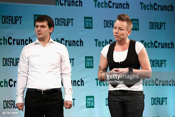 Founders of Iris AI Victor Botev and Anita Schjoll speak on stage during a startup battlefield session on day 1 of TechCrunch Disrupt London at the...