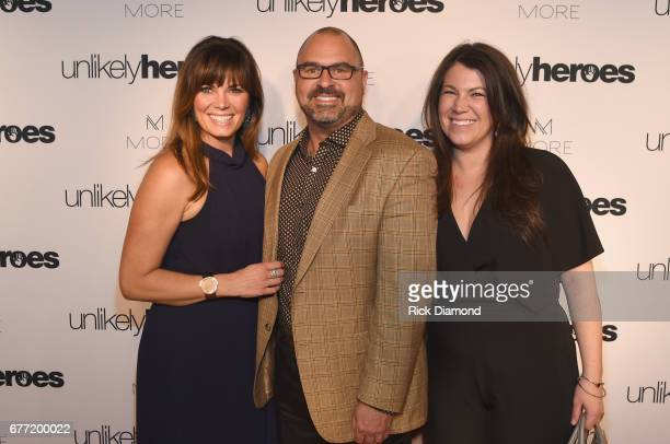 Founders of More Skincare Traina Fiala Kirk Elliott and Lauren Cameron take photos on carpet for Unlikely Heroes hosts Night of Freedom A Tribute to...