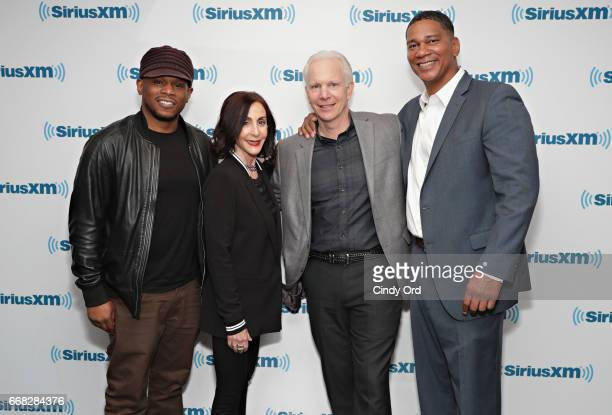 Founders of 'The Last Mile' Beverly Parenti and Chris Redlitz and founding member at 'The Last Mile' Kenyatta Leal pose for a photo with SiriusXM...