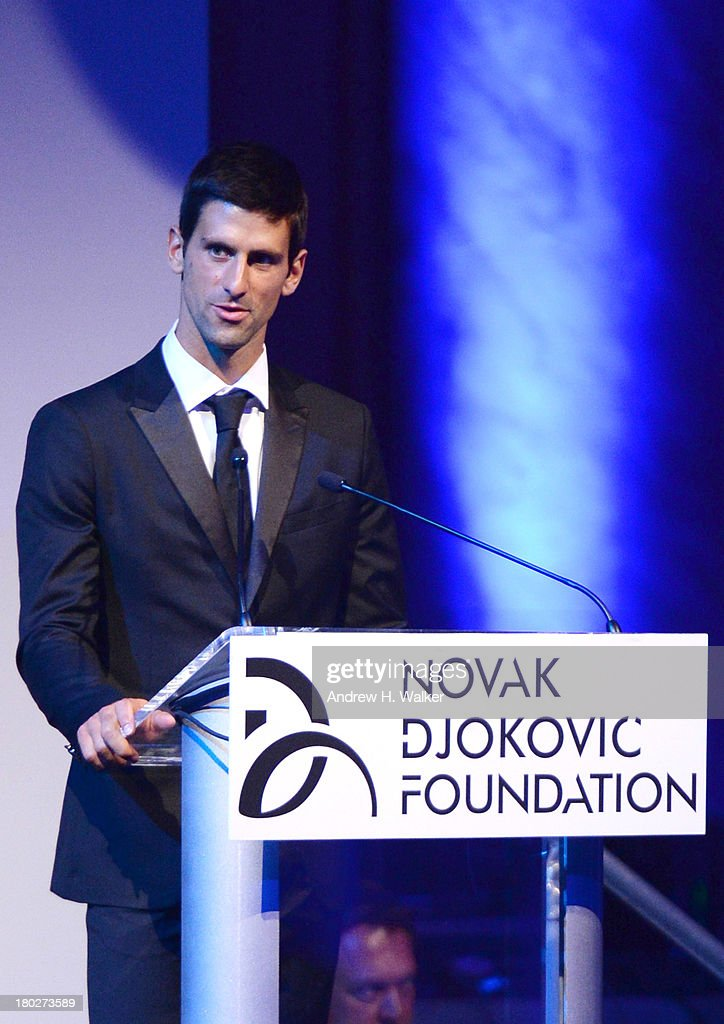Founding Chairman <a gi-track='captionPersonalityLinkClicked' href=/galleries/search?phrase=Novak+Djokovic&family=editorial&specificpeople=588315 ng-click='$event.stopPropagation()'>Novak Djokovic</a> speaks on stage at the <a gi-track='captionPersonalityLinkClicked' href=/galleries/search?phrase=Novak+Djokovic&family=editorial&specificpeople=588315 ng-click='$event.stopPropagation()'>Novak Djokovic</a> Foundation New York dinner at Capitale on September 10, 2013 in New York City.