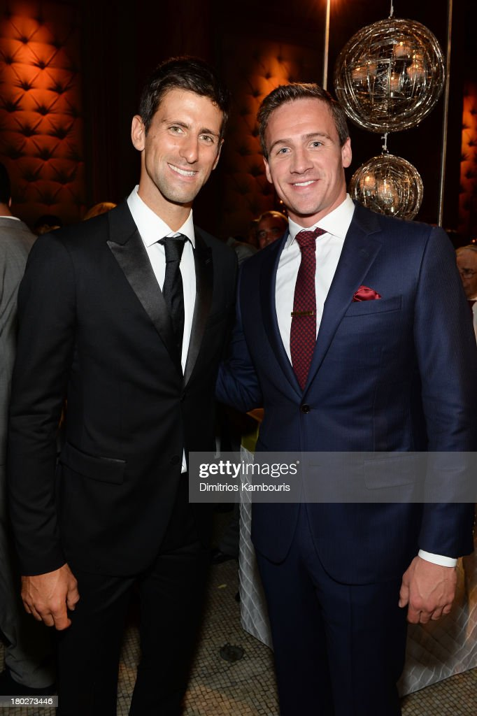 Founding Chairman of the <a gi-track='captionPersonalityLinkClicked' href=/galleries/search?phrase=Novak+Djokovic&family=editorial&specificpeople=588315 ng-click='$event.stopPropagation()'>Novak Djokovic</a> Foundation <a gi-track='captionPersonalityLinkClicked' href=/galleries/search?phrase=Novak+Djokovic&family=editorial&specificpeople=588315 ng-click='$event.stopPropagation()'>Novak Djokovic</a> (L) and swimmer <a gi-track='captionPersonalityLinkClicked' href=/galleries/search?phrase=Ryan+Lochte&family=editorial&specificpeople=182557 ng-click='$event.stopPropagation()'>Ryan Lochte</a> attend the <a gi-track='captionPersonalityLinkClicked' href=/galleries/search?phrase=Novak+Djokovic&family=editorial&specificpeople=588315 ng-click='$event.stopPropagation()'>Novak Djokovic</a> Foundation New York dinner at Capitale on September 10, 2013 in New York City.