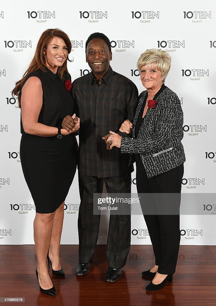 Founding client of 10Ten Talent Pele (C) poses for photos with Sandra Beckham (R) and Joanne Beckham (L) during the Launch of 10Ten Talent on April 23, 2015 in London, England.