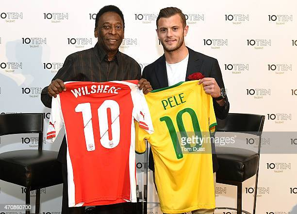 Founding clients of 10Ten Talent Pele and Jack Wilshere pose for photographs during the Launch of 10Ten Talent on April 23 2015 in London England