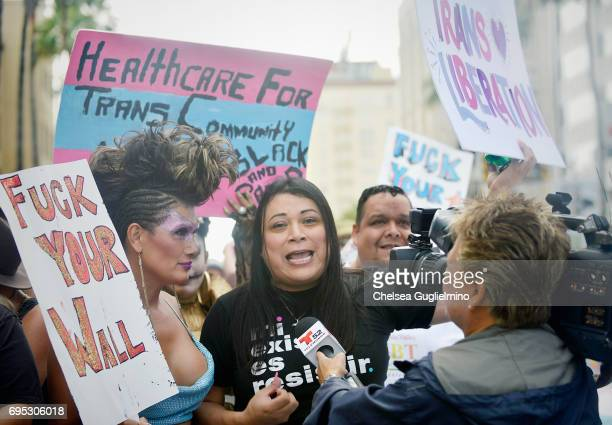 Founding member of La Familia Trans Queer Liberation Movement Jennicet Gutierrez attends the LA Pride ResistMarch on June 11 2017 in West Hollywood...