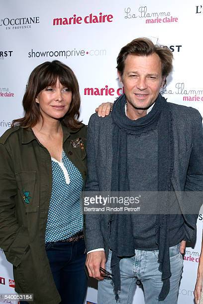 Founding President of 'Toutes a l'Ecole' Tina Kieffer and Host of the event Laurent Delahousse attend 'La Flamme Marie Claire' 7th Edition Press...