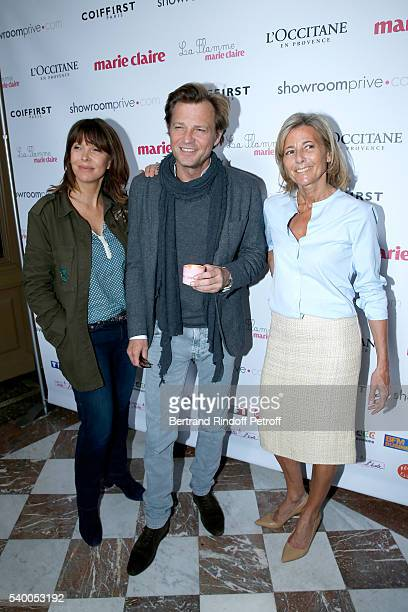 Founding President of 'Toutes a l'Ecole' Tina Kieffer Host of the event Laurent Delahousse and Sponsor and Host of the event Claire Chazal of France...