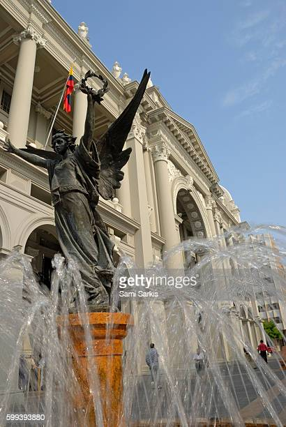 Fountain and statue at City Hall building, Guayaquil, Ecuador, South America