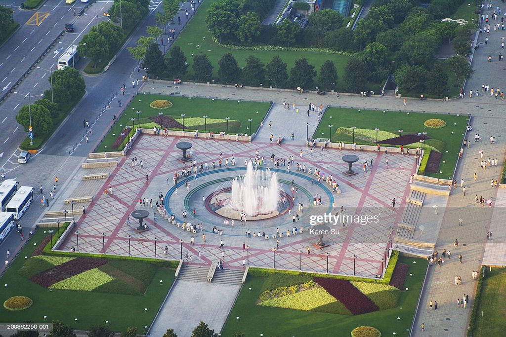 Fountain at people's square, aerial view