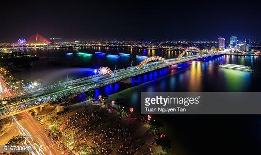 Fountain Dragon Bridge : Stock Photo