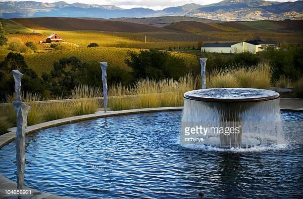 fountain, farmhouse, and vineyard