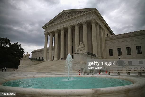 A fountain flows in front of the Supreme Court Building August 20 2014 in Washington DC Today the high court blocked gay and lesbian couples from...