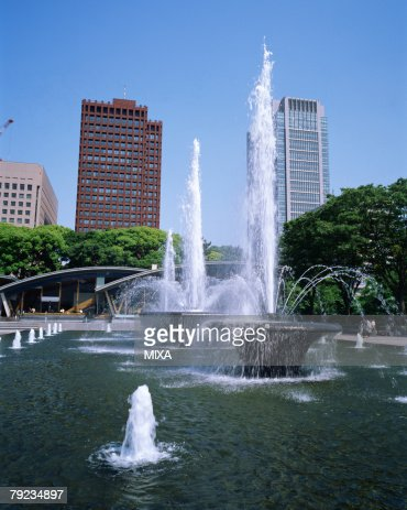 Fountain in a park, Tokyo, Japan : Stock Photo
