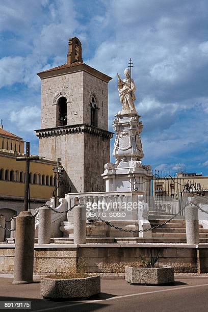 Fountain in front of a cathedral Fountain of Chains Piazza Orsini Benevento Campania Italy