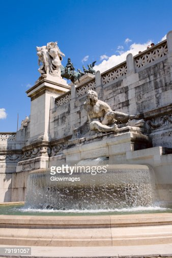 Fountain in front of a monument, Vittorio Emanuele Monument, Piazza Venezia, Rome, Italy : Stock Photo