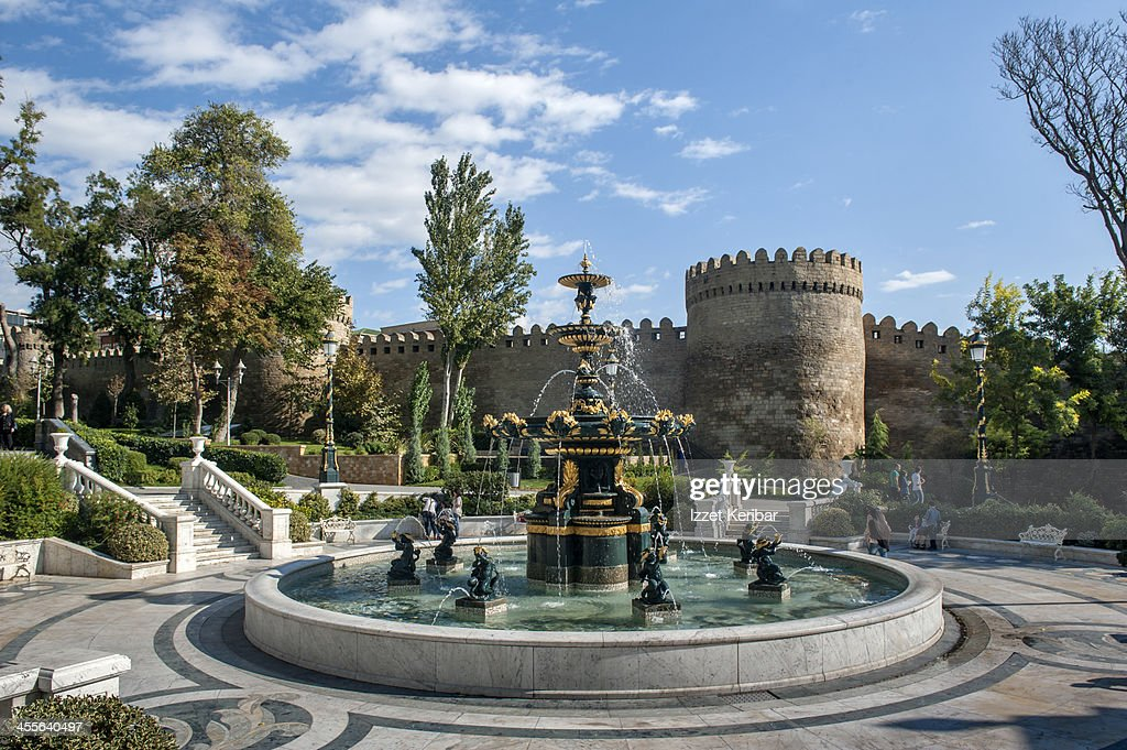 Fountain in front of the old city walls