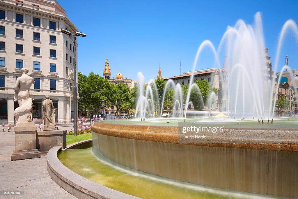 Fountain in Placa de Catalunya, Barcelona, Spain
