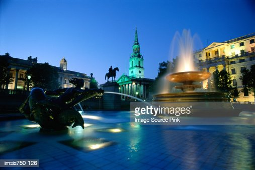 Fountain in Trafalgar Square : Stock Photo
