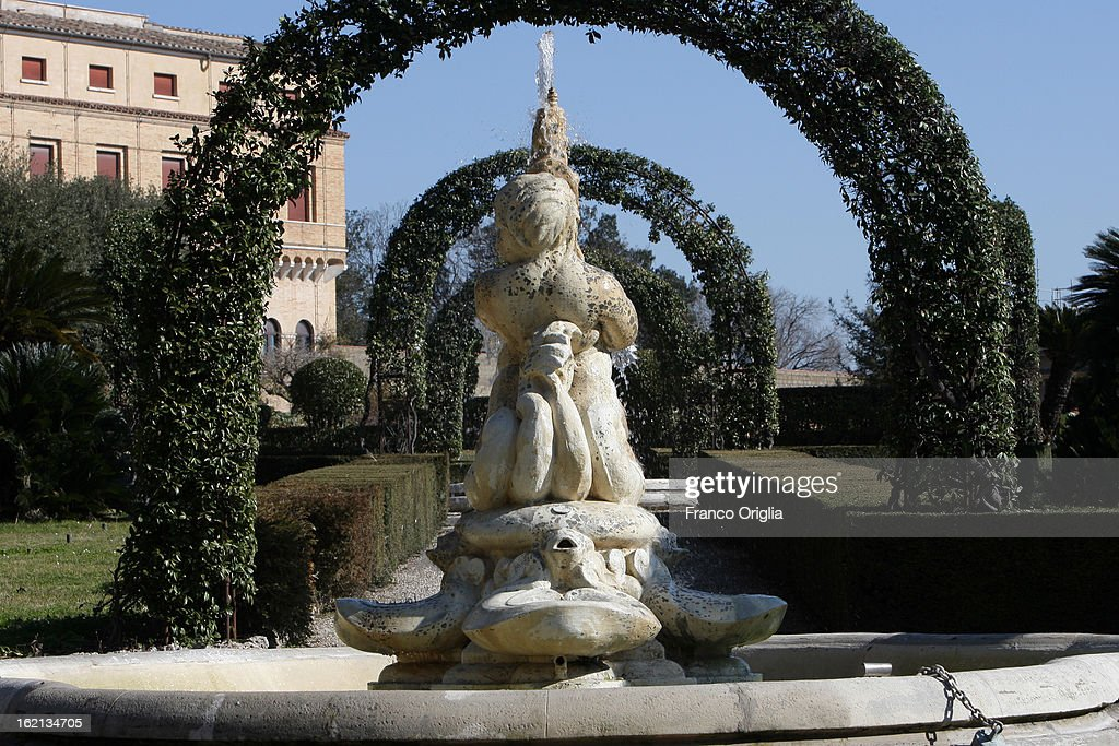 A fountain inside the Vatican Gardens on February 19, 2013 in Vatican City, Vatican. When Pope Benedict XVI steps down on February 28, 2013 after almost eight years serving as the 265th Pope, it is reported that he will live in the Vatican Gardens.
