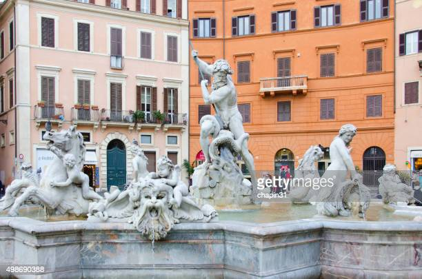 Fountain of Neptune in Piazza Navona, Rome, Italy