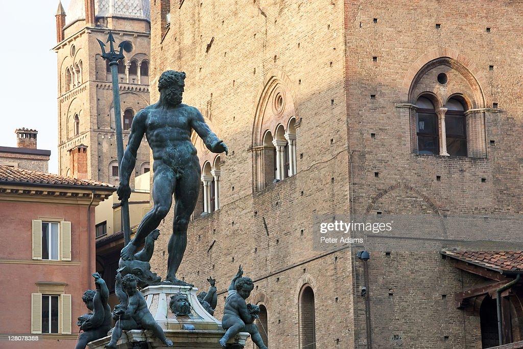 Fountain of Neptune, Piazza Nettuno, Bologna, Italy : Stock Photo
