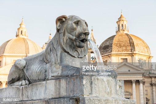 Fountain of the Lions in Piazza del Popolo, Rome : Stock Photo