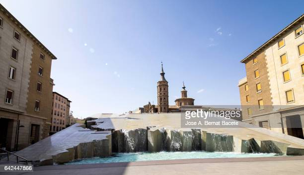 Fountain of the Spanishness in the square of the basilica of the prop in Saragossa