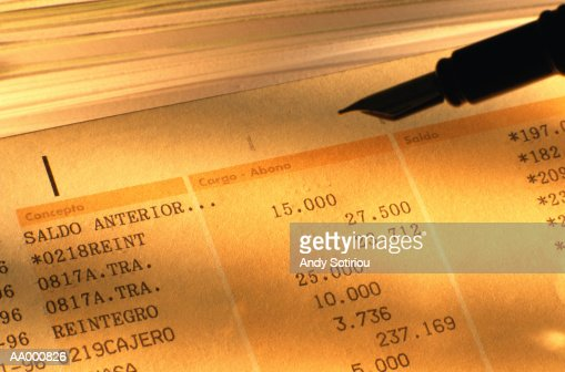 Fountain Pen and a Spanish Bank Statement : Stock Photo