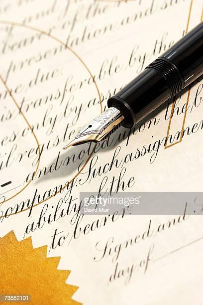 Fountain pen on document