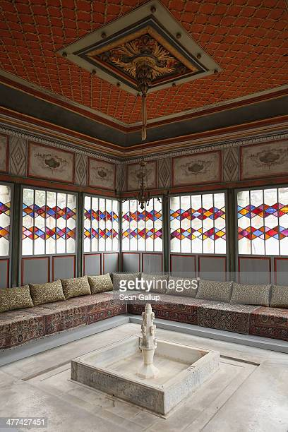 A fountain satnd in the middle of a room of the Khan's Palace also called Hansaray in Crimea on March 9 2014 in Bakhchysarai Ukraine Bakhchysarai was...
