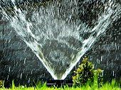 Fountain Spraying Water In Park