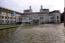 A fountain sprays water in front of the building where former Yugoslav President Slobodan Milosevic will appear on July 3 for the beginning of his...
