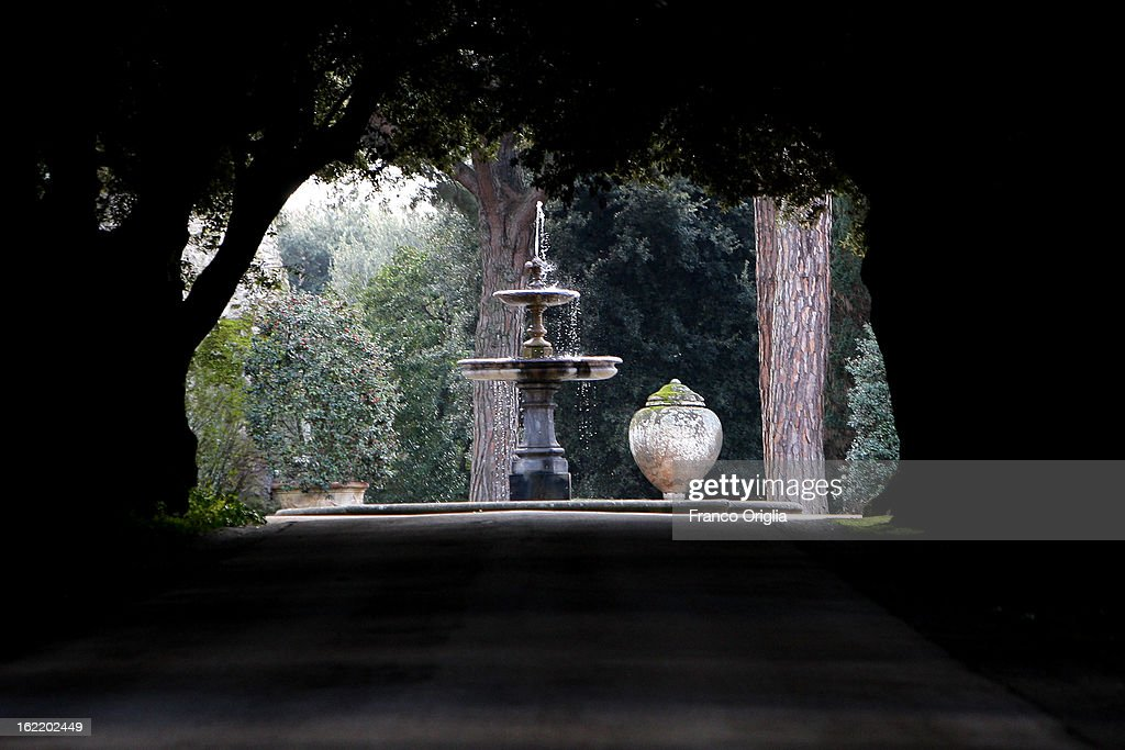 A fountain stands in the gardens of the Pontifical residence of Castelgandolfo on February 20, 2013 in Rome, Italy. The Apostolic Palace and The Ponifical Villas of Castelgandolfo, 10 miles south Rome, are the summer residence of Popes and will host Pope Benedict XVI during the next conclave.