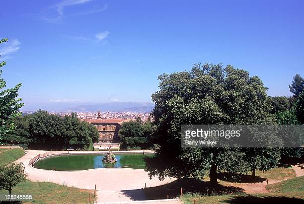 Fountain, trees and view at Boboli Gardens, Florence, Italy