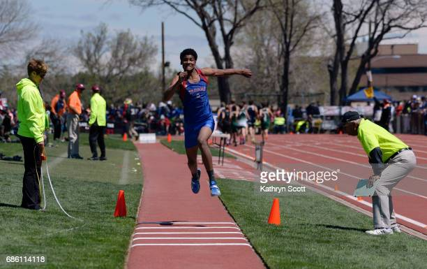 FountainFt Carson's Jequan Hogan competes in the boys 5A triple jump The state track and field championships take place at Jeffco Stadium on May 20...