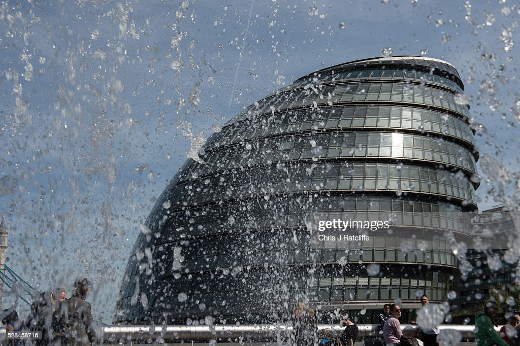 Fountains erupt near City Hall, the headquaters of the Mayor of London and the London Assembly on the southbank of the River Thames as Londoners vote for a new Mayor on May 5, 2016 in London, United Kingdom. Today,dubbed 'Super Thursday',sees the British public vote in countrywide elections to choose members for the Scottish Parliament, the Welsh Assembly, the Northern Ireland Assembly, Local Councils, a new London Mayor and Police and Crime Commissioners. There are around 45 million registered voters in the UK and polling stations open from 7am until 10pm.