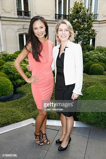 Fouquet's Barriere General Manager Geraldine Dobey and Chinese actress Xin Wang attend the 'Monica's List' Cocktail Party at Le Fouquet's Barriere on...